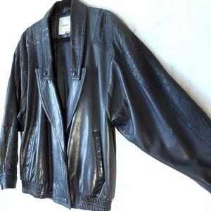 Vtg Aldo Double Breasted Blue Leopard Leather Coat